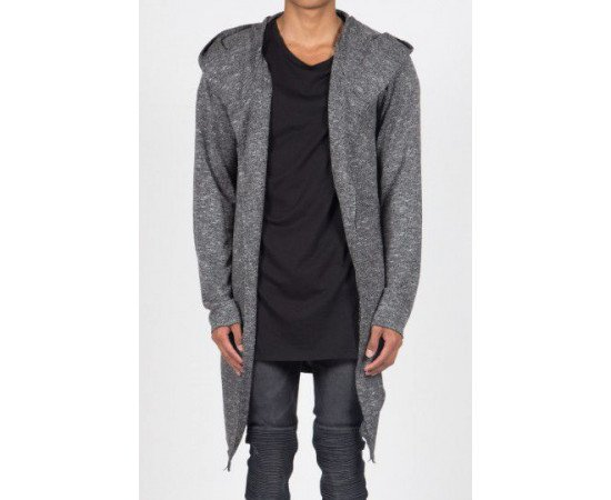 Sveter Sixth June Long Cardigan Hood Heather Grey