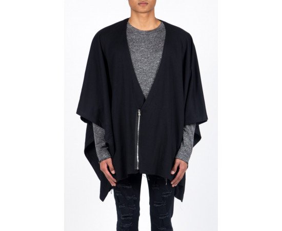 Sveter Sixth June Poncho Zippé Black