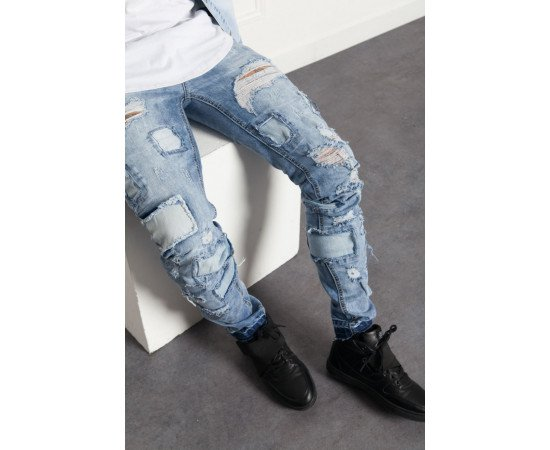Jeans Sixth June Denim Ultra Destroyed Blue
