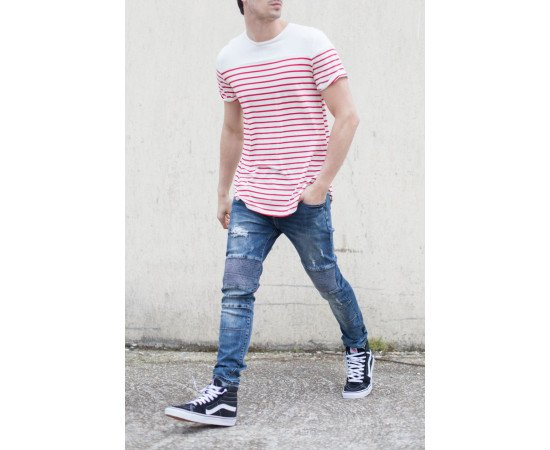 Tričko Sixth June Stripes Oversized White Red realphotnhs
