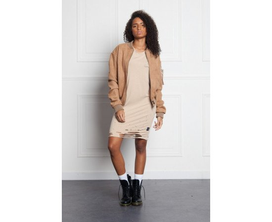 Bombera Sixth June Femme Suede Oversized Sand realphotonhs