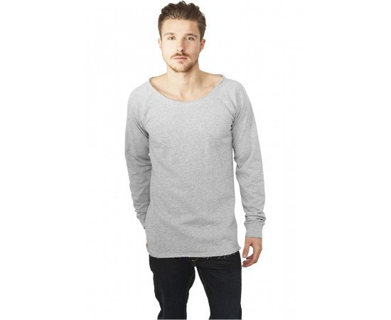 Urban Classics Long Open Edge Terry Crewneck Grey