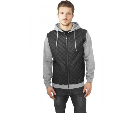 Mikina Diamond Half Leather Imitation Zip Hoody