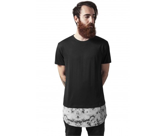 Tričko Urban Classics Long Shaped Marble Tee Black