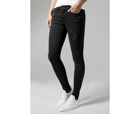 Ladies Ripped Denim Pants black washed