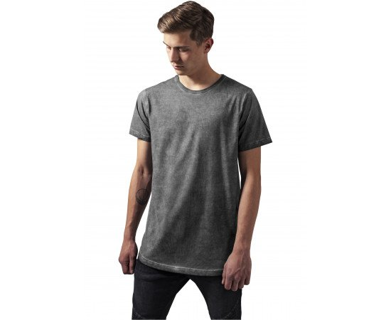Tričko Urban Classics Shaped Long Cold Dye Tee Darkgrey