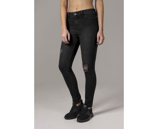 Jeans Urban Classics High Waist Skinny Denim Pants Black Washed