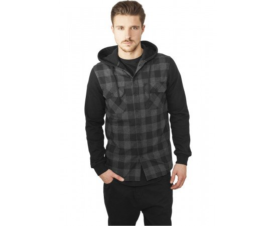 Mikina Urban Classics Hooded Checked Flanell Black Charcoal