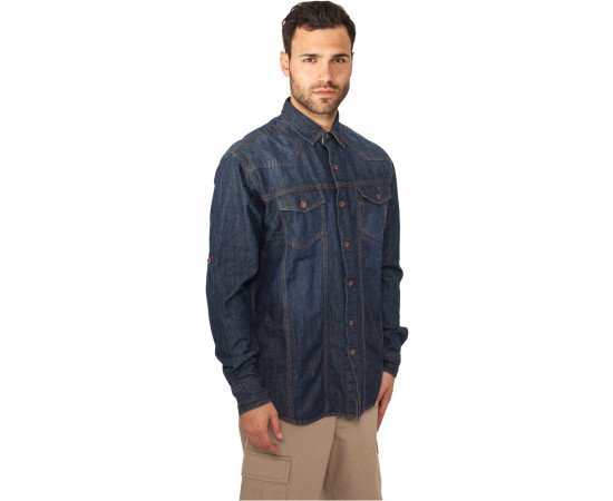 Košeľa Urban Classics Heavy Denim Shirt Blue