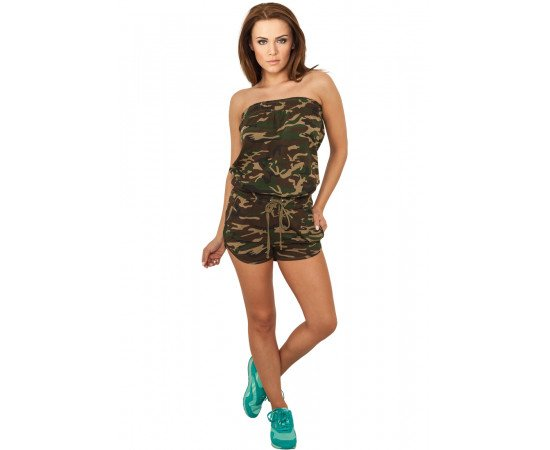 Overál Urban Classics Ladies Camo Hot Jumpsuit Wood Camo