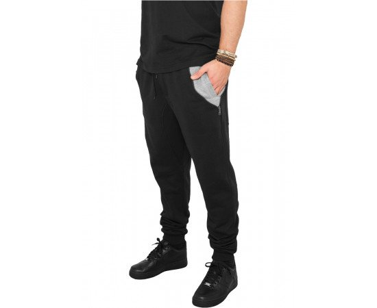 Tepláky Urban Classics Side Zip Contrast Pocket Black