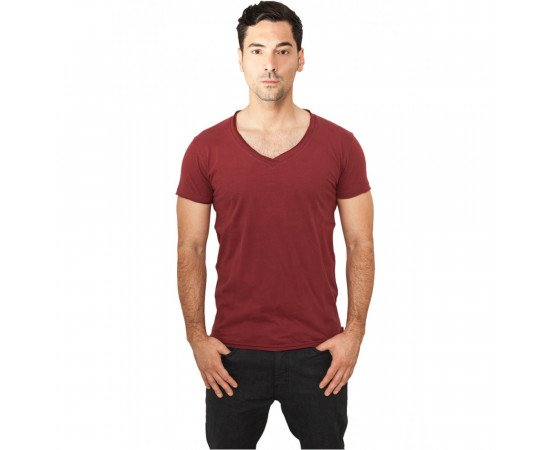 Urban Classics Fitted Peached Open Edge V-Neck Tee Burgundy