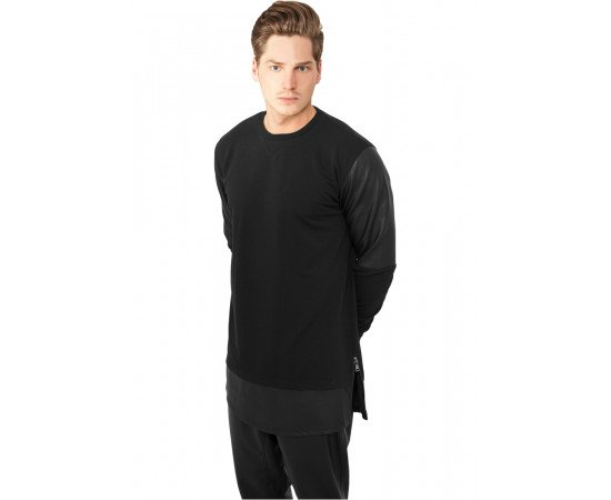 Mikina Urban Classics Long Zipped Leather Imitation Crewneck Black
