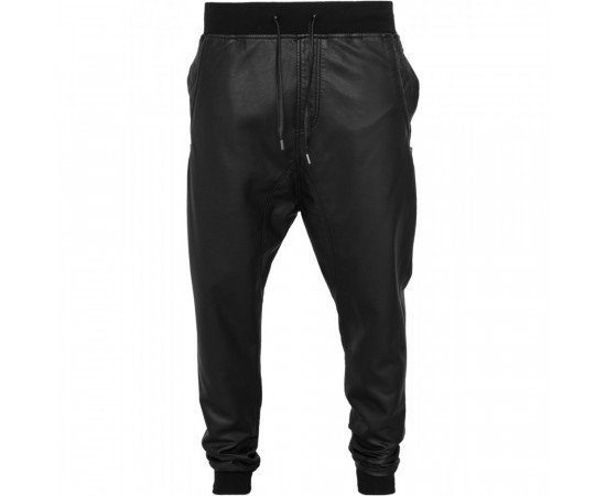Tepláky Urban Classics Deep Crotch Leather Imitation Pants