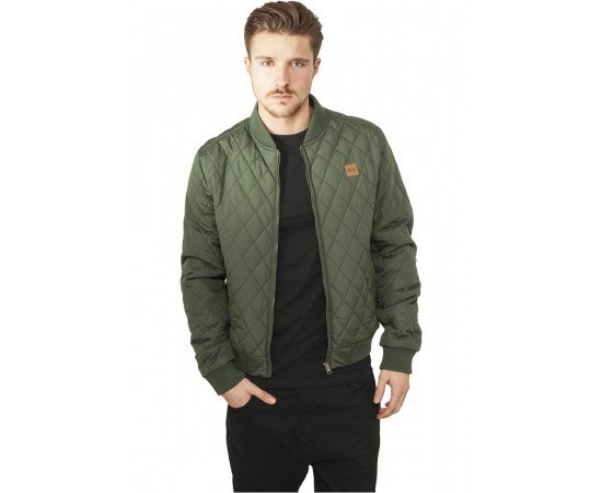 Bunda Urban Classics Diamond Quilt Nylon Jacket Olive