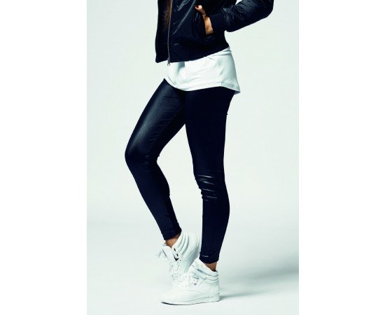 Legíny Urban Classics Ladies Leather Imitation Leggings Black
