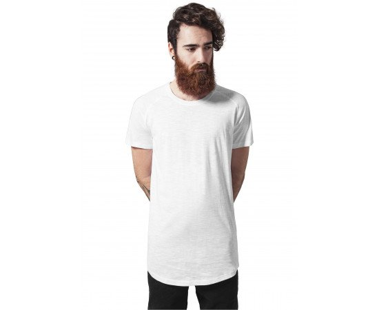 Tričko Urban Classics Long Shaped Slub Raglan Tee White