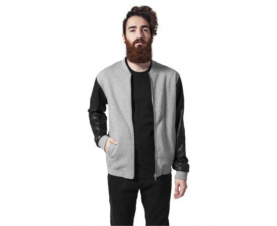 Zipped Leather Imitation Sleeve Jacket gry/blk/gry
