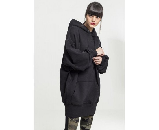 Ladies Long Oversize Hoody black