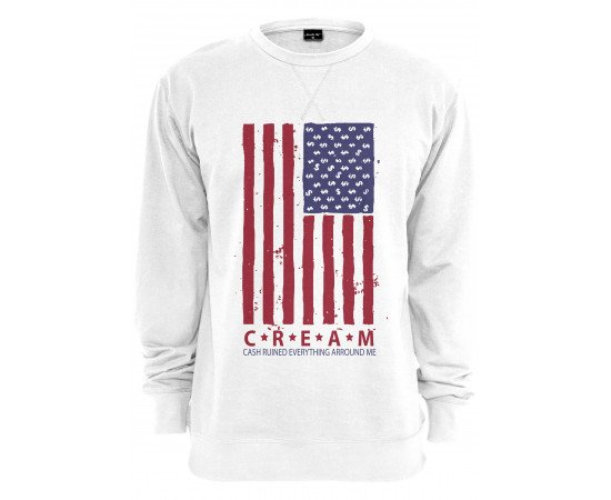 Crewneck Urban Classic Cream Flag White
