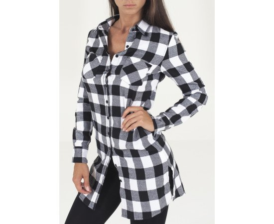 Tričko Urban Classics Ladies Checked Flanell Shirt Dress Blk/wht