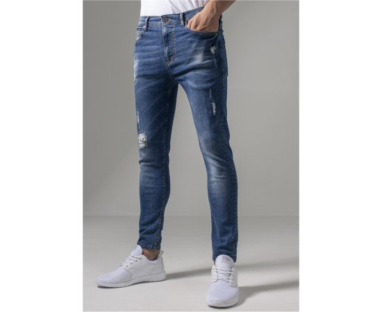 Jeans Urban Classics Skinny Ripped Stretch Denim Blue Washed realphotonhs