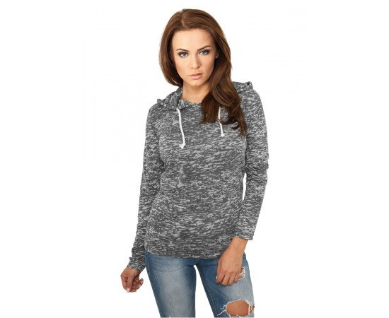 Ladies Melange Burnout Hoody darkgrey