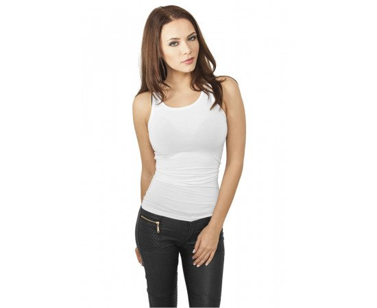 Tielko Urban Classics Ladies Fitted Viscon Racerback Tank White