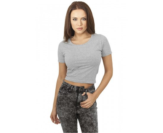 Crop top tričko Urban Classics Cropped Tee Grey
