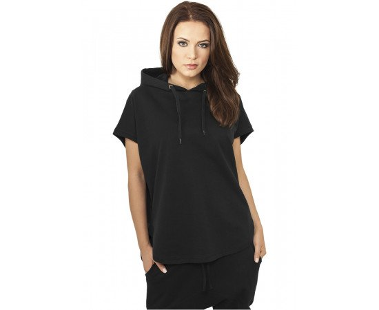 Ladies Sleeveless Terry Hoody black
