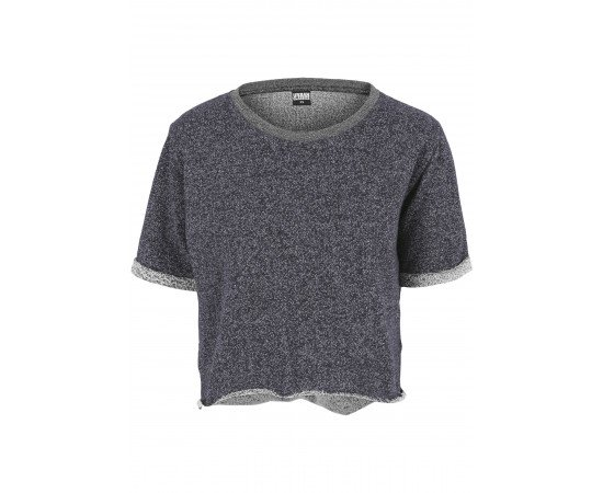 Tričko Urban Classics Melange Cropped Short Sleeve Crew Navy Grey