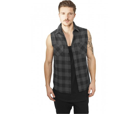 Košeľa Urban Classics Sleeveless Checked Flanell Shirt Black