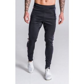 Gianni Kavanagh Black Tracksuit Joggers With Nostalgic Roses Details
