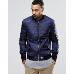 Bunda Sixth June Bomber Jacket Blue Camo