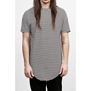 Tričko Favela Striped Round T-Shirt Black/white