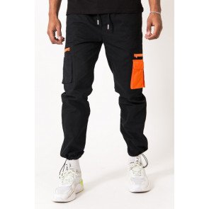 SIXTH JUNE ORANGE CARGO PANTS BLACK