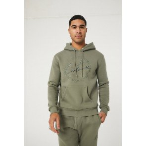 SIGNATURE EMBROIDERED CIRCLE SLIM FIT HOODIE KHAKI