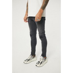 BLACK WASH DISTRESSED BIKER SLIM FIT JEANS