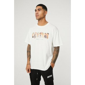 VINTAGE WHITE COUTURE FIRE GRAPHIC PRINT T-SHIRT