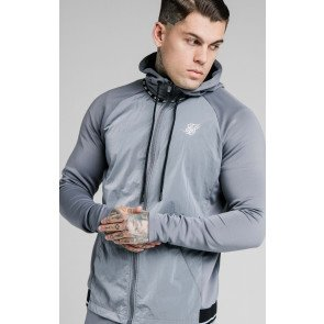 SIKSILK ADAPT CRUSHED NYLON ZIP THROUGH HOODIE