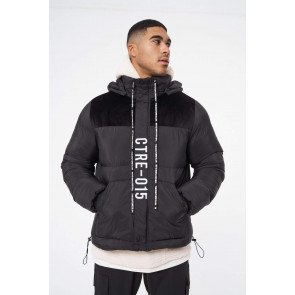 SLOGAN PUFFER WITH HOOD