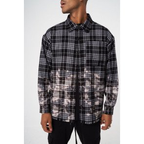 OVERSIZED BLEACHED CHECK DISTRESSED SHIRT