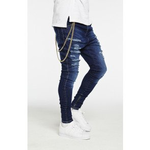 Jeans Siksilk Washed Distress Hareem Blue