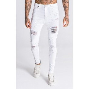 WhiteJeans With Red And Blue Splats