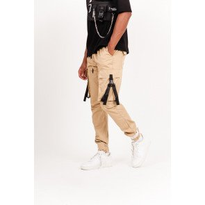 Cargo pants with beige straps