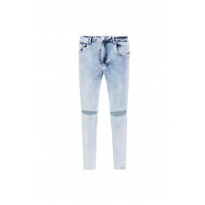 RippedKnee Jeans | Bleach Washed Blue