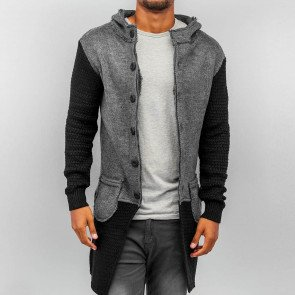 Mikina Bangastic Hooded Cardigan Grey Black