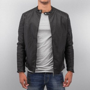 Bunda Bangastic Logo Fake Leather Jacket Black