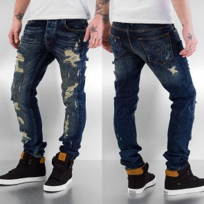 Nohavice Bangastic Destroyed Straight Fit Blue