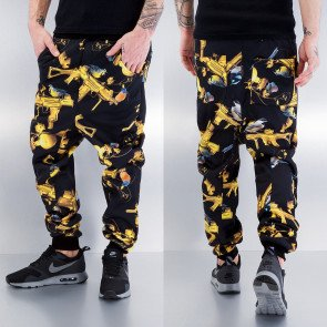 Tepláky Dangerous DNGRS Birds Deep Crotch Sweat Pants Black